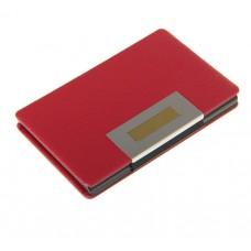 Визитница металлическая, цвет бордовый