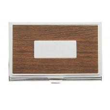 Визитница с металлическим окном, цвет коричневый