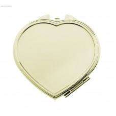 Зеркало компактное в форме сердца, под нанесение, без увеличения, цвет золотистый